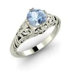 Rings - Melina - Aquamarine Ring in 14k White Gold (0.4 ct.tw.)