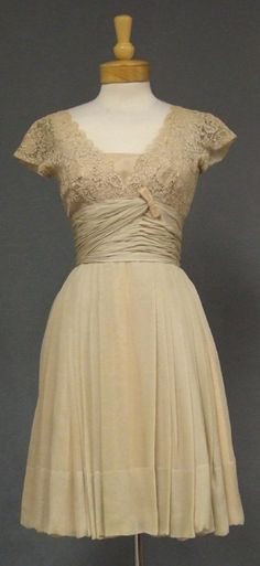 """Silk and lace vintage cocktail dress.  """"Roban by Dorothy Litzan New York."""" One of my grandmother's designs. She would have been so tickled to see people still enjoying her designs!"""