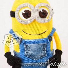 Minion Pattern, Animal Sewing Patterns, Crochet Amigurumi Free Patterns, Crochet Toys, Free Crochet, Crochet Ideas, Minion Doll, Step By Step Crochet, Crocheting