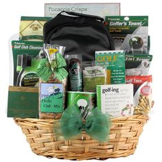 Treat the golfer in your life to a basket overflowing with gourmet snacks and golfing accessories. Packed inside for your recipient to find are crackers, nuts, cheese spread and summer sausage along w