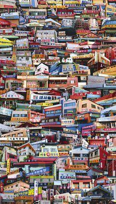 They Love Seoul - DDBBMM Landscape Quilts, City Landscape, Walled City, Korean Art, Street Signs, Creative Art, Home Art, Seoul, City Photo