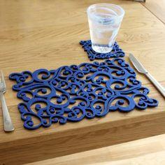 laser-cut felt placemats, two pack - blue swirls