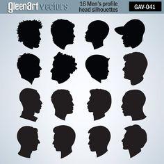 #head silhouettes #men's head silhouettes #men's profiles 16 Men's head silhouette/Men's head by GleenArt on Etsy