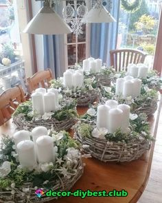 christmas centerpieces Simple And Popular Christmas Decorations; Christmas Arrangements, Christmas Table Decorations, Christmas Candles, Diy Wedding Decorations, Christmas Themes, Christmas Wreaths, Christmas Crafts, Holiday Decor, Wedding Centerpieces