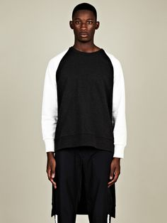 Christopher Shannon Men's Long Back Sweatshirt in charcoal / white at oki-ni