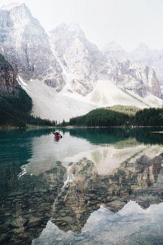 Canoeing on reflection at Moraine lake
