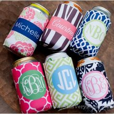 Monogrammed Koozies - LOVE these for parties, bachelorette events, graduations, hostess gifts, party favors, girls's weekends and more!!!! SO cute!