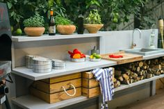 WWOO outdoor kitchen | www.wwoo.nl Kitchen Cart, Patio Ideas, Israel, Diy And Crafts, Box, Garden, Outdoor, Home Decor, Outdoors