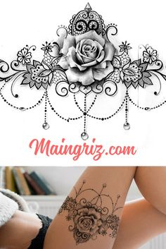 Thigh Garter Tattoo, Lace Thigh Tattoos, Lace Garter Tattoos, Lace Tattoo Design, Thigh Tattoo Designs, Lace Flower Tattoos, Hippe Tattoos, Chandelier Tattoo, Rose Tattoos For Women