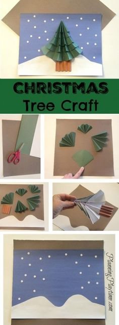 Cute Christmas Tree Craft For Kids - All you need is construction paper, scissors and glue.