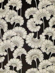 Florence Broadhurst 'Japanese Floral' wallpaper in cream silk on matt black