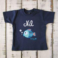 Camiseta bebé manga corta pez con tu nombre - Marketplace social de tiendas para niños de 0 a 14 años