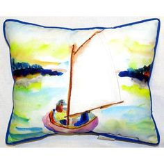 "Betsy Drake Interiors Sailboat Indoor/Outdoor Lumbar Pillow Size: 16"" H x 20"" W"