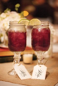 cocktails Cranberry custom tagging mason jar bride and groom cups