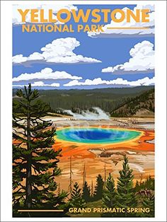 Yellowstone National Park, Wyoming - Grand Prismatic Spring SIGNED Print Master Giclee Print w/ Certificate of Authenticity - Wall Decor Travel Poster) >>> You can get additional details at the image link. (This is an affiliate link) Nationalparks Usa, Yellowstone Nationalpark, Voyage Usa, Photo Vintage, Vintage Ski, Park Art, Us National Parks, Grand National, Spring Art