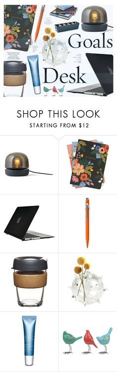 """Desk Goals: Pretty Workspaces"" by katarina-blagojevic ❤ liked on Polyvore featuring interior, interiors, interior design, home, home decor, interior decorating, Menu, Rifle Paper Co, Speck and Caran d'Ache"