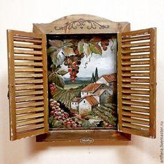 """Пейзаж ручной работы. Ярмарка Мастеров - ручная работа Окошко деревянное """"Виды Тосканы"""". Handmade."""