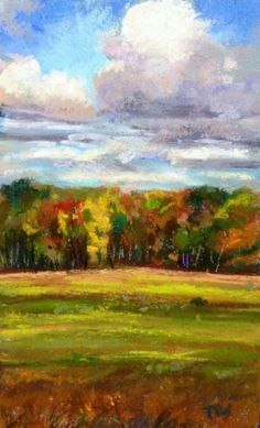 Autumn Clouds - Framed Pastel fall Clouds, painting by artist Takeyce Walter