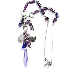 Blomst  - Lilla sølvsmykke med glasskrystall og håndlagde perler