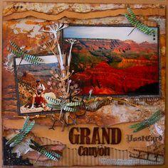 Travel scrapbooking, scrapbook layout, page, vacation, Grand Canyon, Arizona