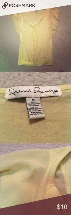 Pale Yellow Summer Top French Laundry S Tie Pale Yellow Summer Top French Laundry S. Ties in front, rayon and polyester. french laundry Tops Blouses