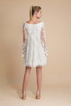 Théodore, Robe de mariage dentelle, robe de mariée courte par D.Manivet