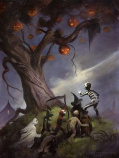 """The Halloween Tree A Haunting Halloween image from an oil painting by Fantasy artist Mike Hoffman, based on the immortal tale by Ray Bradbury! This 18""""x24"""" masterwork is the same size as the original art. Our most popular image!"""