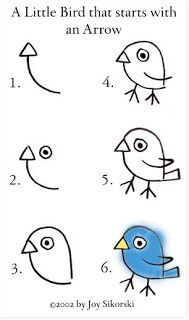 Draw a bird. Start with an arrow.