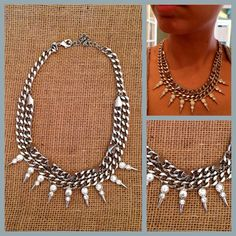 edgy but sweet silver necklace