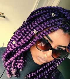 Purple braids are one of the many hairstyle trends that have become popular in recent years. Let's take a look at 35 stylish ways you can rock purple braids. Bob Box Braids Styles, Box Braids Bob, Short Box Braids, Blonde Box Braids, Box Braids Styling, Braid Styles, Curly Hair Styles, Natural Hair Styles, Chunky Box Braids