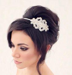 Crystal Headband Wedding Headband by AshleighMalangoneNY on Etsy, $78.00  Love this hairstyle