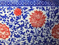Chinese flower pattern on ceramic. #porcelain #blue #red #white #plants