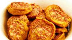 2 koppies gaar (*droog ) patat wat in suiker gekook is, fyn gedruk (*nie waterig nie) kop koekmeel 1 tl bakpoeier knypie nutmeg knypie pypkaneel knypie sout 2 groot eiers geskei 2 el gesmelte b… South African Dishes, South African Recipes, Easy Delicious Recipes, Yummy Food, Kos, Pumpkin Fritters, Vegetarian Recipes, Cooking Recipes, Savoury Recipes
