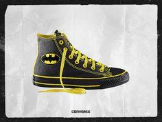 Converse High Tops Sneakers. Batman design.