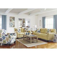 Kylee - Goldenrod Living Room Set Signature Design | Furniture Cart....I kind of love this set!!