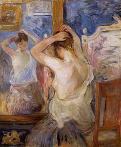 "artist-morisot: ""Before the Mirror, 1890, Berthe Morisot Medium: oil on canvas"""