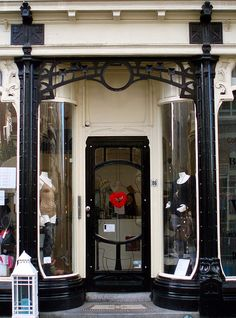 Dutch Jugenstil shop entrance, Prinsestraat, The Hague, South-Holland, The Netherlands.
