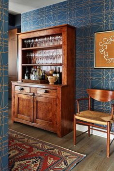Hall with Hygge and West wallpaper, photo Donna Griffith > Style at Home, Oct 2017 Small Space Living, Small Spaces, Hygge And West, New Condo, Design Consultant, Design Firms, Liquor Cabinet, Custom Design, New Homes