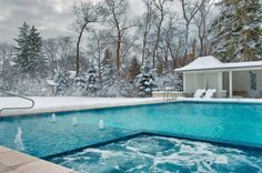 I love a pool and I love snow, but would I get into this pool at the pictured time of year? I doubt it!