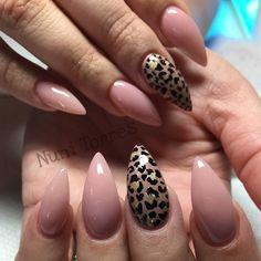 nude & animal print stiletto nails