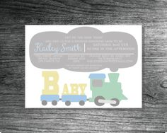 Train Baby Shower Invitation; Get On the Baby Train!; Train Theme Baby Shower; Gender Neutral