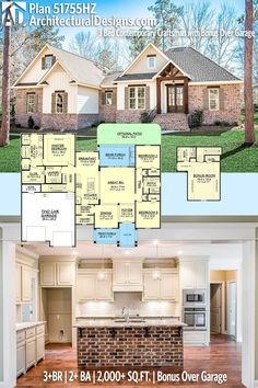 Architectural Designs House Plan 51755HZ with a bonus space over the garage. 3+BR | 2+BA | 2,000+SQ.FT. Ready when you are. Where do YOU want to build? #51755hz #adhouseplans #architecturaldesigns #houseplan #architecture #newhome #newconstruction #newhouse #homedesign #dreamhome #dreamhouse #homeplan #architecture #architect