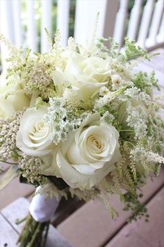 Four Leaf Clover Designs NEPA - white bouquet - roses, astilbe, queen anne's lace, fever few