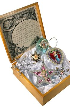 6 piece aqua and silver Christmas keepsake ornament set