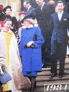 December 25, 1984: Prince Charles & Princess Diana with the Royal family after attending Christmas Day service at St. George's Chapel, Windsor.