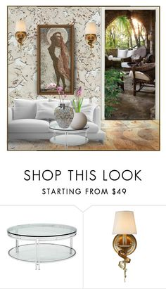 """""""White Cork Wall"""" by suelb ❤ liked on Polyvore featuring interior, interiors, interior design, home, home decor, interior decorating, AmCork, Sunpan, livingroom and design"""