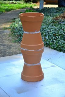 In Lieu of Preschool: DIY Pour Painted Terra Cotta Pot Bird Bath in Blues & Greens