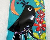 Fused Glass Black Bird Moon Flower Plaque Whimsical Decor