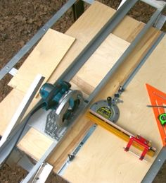 Track Saw by Bob Strawn -- Homemade track saw constructed from angle iron and intended to be utilized in conjunction with a circular saw. http://www.homemadetools.net/homemade-track-saw-3