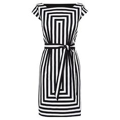 Buy Karen Millen Graphic Stripe Shift Dress, Black/White Online at johnlewis.com